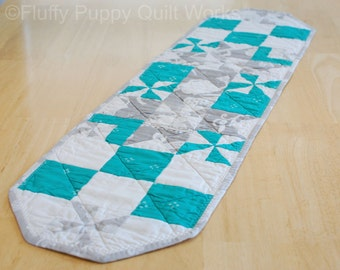 Teal Quilted Table Runner, Gray Table Topper, Modern White Blue Gray Table Decor, Star Pinwheel Table Mat, Cotton Table Runner