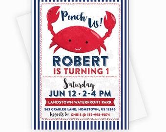 Nautical Crab Printable Party Invitation - Nautical Crab Birthday Invitation -5x7 Custom Party Invitation, Crab Baby Shower, Nautical Invite