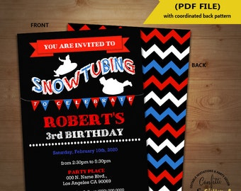 Snow tubing birthday invitation sledding tubing party invite chalkboard Instant Download YOU EDIT TEXT & print invite 5579
