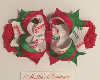 Christmas Candy Cane Boutique Bow on a Crochet Headband - Christmas Headband - Holiday Hair Bow - Candy Stripe - Crochet Headband