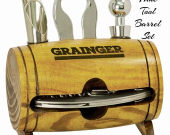 Engraved Wine Tool Set, Personalized Wine Opener Set, Barrel Style Wine Tool Box, Wine Tools, Wine Opener, Wine Box, Wine Lover, 4 PC SET