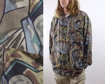 Vintage 90s SILK Button Down Shirt - Rare All Over Print Long Sleeve Silk Shirt - Crazy Print Rad Shirt - Thums Up Shirt - Sz XL