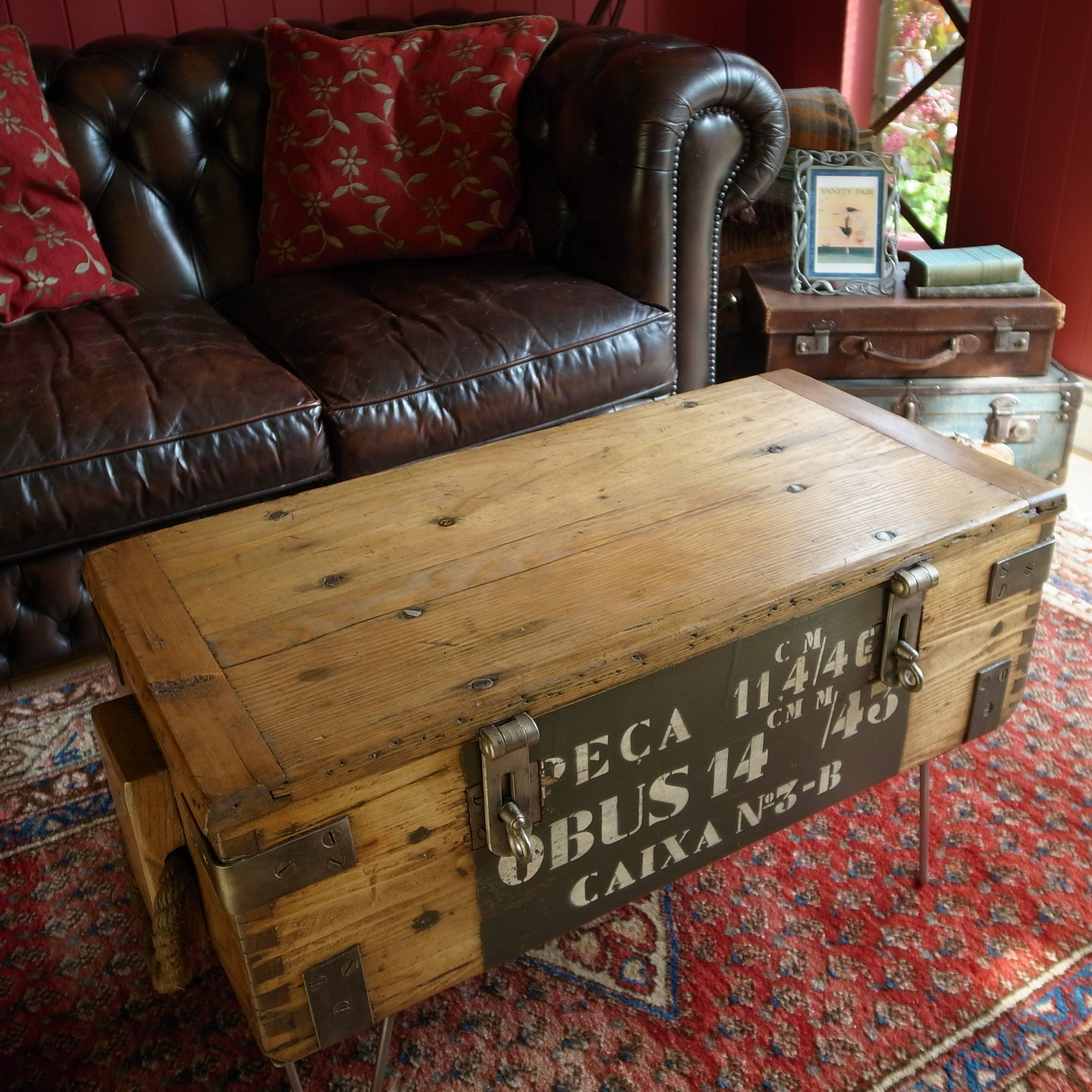Industrial coffee table vintage military chest reclaimed