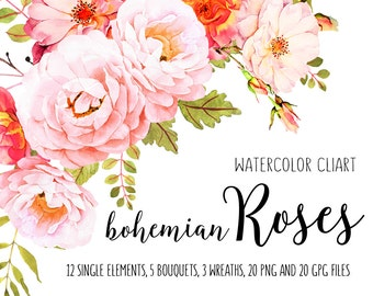 Roses watercolor clip art, Flower clipart, Watercolor bundle, Roses clipart, Bohemian roses, Roses bouquets, Flower boho, Bohemian