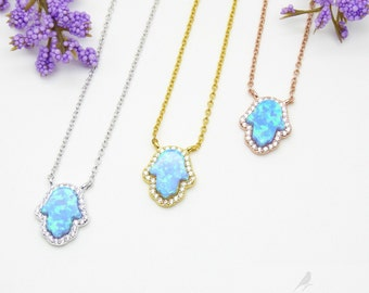 Blue Opal Hand of Fatima Necklace Cz 925 Silver Yellow Rose Gold