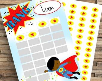 Super Hero Reward Chart, Kids Reward Chart, Potty Training Chart, Chore Chart, Routine Chart, Sticker Chart, Good Girl Chart, Homework chart