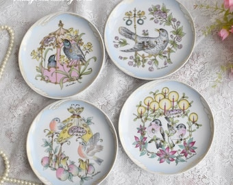 Plate set vintage german plate set Hutschereuther Germany dessert plate set german porcelain GDR plate set for four