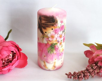 Pillar candle, decoupage candle, gift for her, birthday gift, gift ideas, room decor, home decor, table decor, beautiful and unique candle