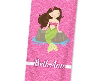 Mermaid Personalized Beach Towel - Pink Mermaid Beach Towel, Hot Pink Damask Mermaid Beach Towel, You Pick Girl - Kids Personalized Gift