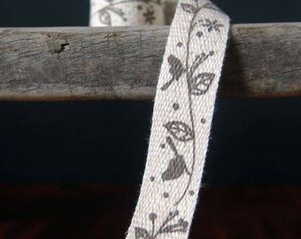 Birds on Tree Branch Linen Blend Print Cotton Ribbon, 5/8-inch, 10-yards
