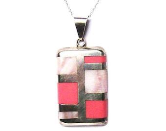 Modern Rose Quartz Sterling Silver Pendant