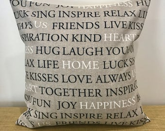 "Script Fabric Grey Inspirational Happiness and Love Text cushion cover throw pillow. 18"" (45cm).  Cushion covers Australia"