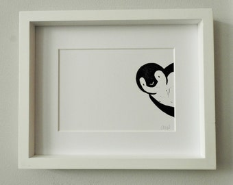 Penguin Gift - Linocut Print - Penguin Print - Birthday - new baby Gift - Mother's Day gift - Penguin Picture - mothers day - nursery decor
