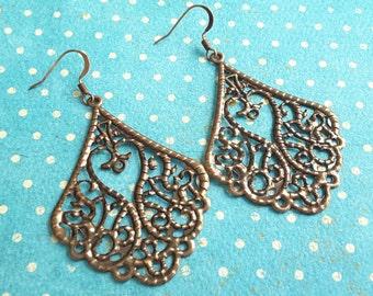 Copper Filigree Teardrops . Earrings