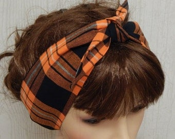 Black and orange tartan headband, self tie hair scarf, tie up head scarf, 50's head wrap, pin up bandanna, women's headscarf