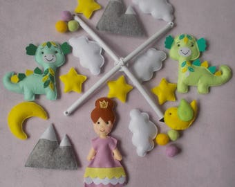 Baby crib mobile Princess,Dragons mobile,Mountains Baby Mobile,nursery mobile,baby kit mobile,baby cot mobile,baby girl mobile,custom mobile