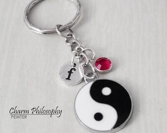 Yin Yang Key Chain - Initial and Birthstone - Chinese Yin Yang Gifts - Personalized Keychain