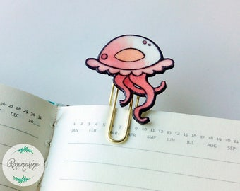 Jellyfish Bookmark, Gold planner paperclip, Ocean life, book lover gift, Planner accessories