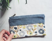 Zippered Pouch - Chambray & Floral