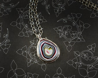 Fordite Sterling Silver Pendant Awesome Necklace