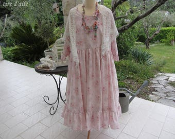 Belle robe printanière shabby chic, romantique, boho, mori, Nadir, vintage, grande taille, vieux rose et fleur délicatement