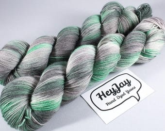 Hand Dyed Sock Yarn Superwash Merino - Emerald City