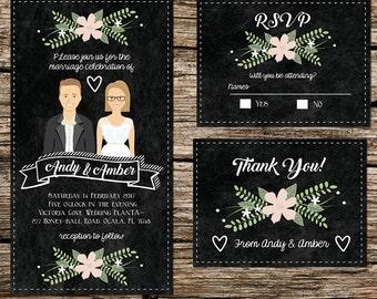 Custom illustrated Wedding invitation - Chalkboard - Vintage -Custom Portrait - Illustration- Black and White