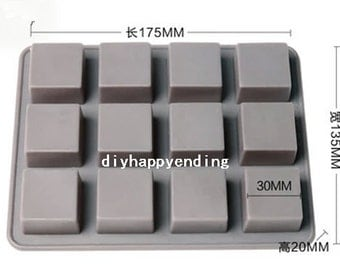 12- Square Cake Mold Flexible Silicone Soap Mold For Handmade Chocolate Cookie Bakeware Pudding Jelly Baking Tools
