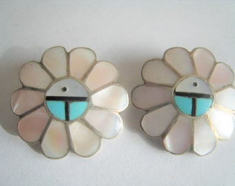 South Western Mother of Pearl Clip Earrings