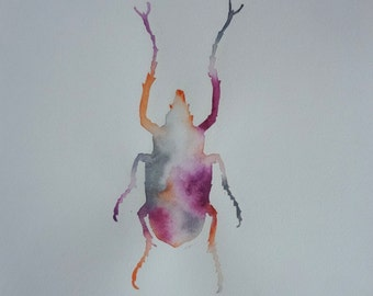 Original Customisable Insect Watercolor Painting nr4/ Hand Painted Flowing FunBug Wall Art / Any Colour Combinations