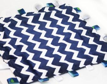 Navy and white Minky Baby Lovey Blanket   20x20   Super soft minky blanket