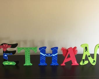 Custom hand painted PJ mask inspired wooden letters