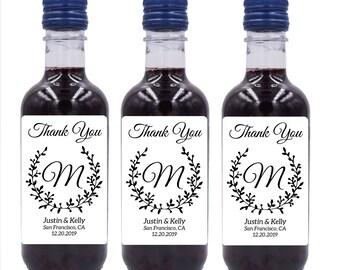 Wedding Mini Wine Bottle Labels, Custom mini wine bottle label stickers #MW2