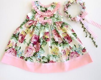 Babywear, Baby girl clothes, Vintage style baby Dress,  Toddler Dress, Pretty Cream and pink Cabbage Rose dressSize 2yrReady to ship