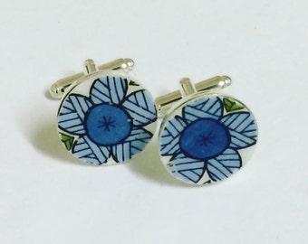 Retro style cufflinks / groovy cufflinks / blue cufflinks