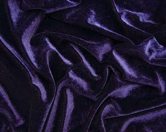 """Navy Blue Velvet Fabric, Home Decor, Stretch Fabric, Quilting Fabric, 60"""" Inch Wide Fabric By The Yard ZVE90B"""