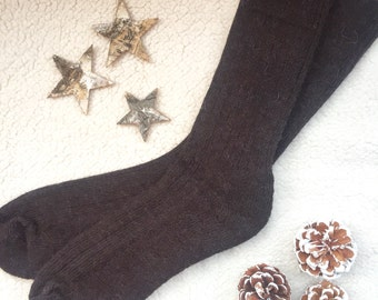 Alpaca Socks Knitted - Mens Short - Chocolate Brown