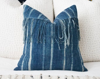 African Indigo Pillow Cover w/ Fringe 18x18