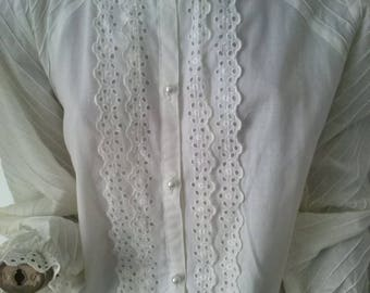 Broderie Anglaise Vintage 80s l/s blouse size 10