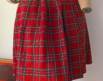 Vintage 90s tartan plaid checked pleated wrap around skirt size 8