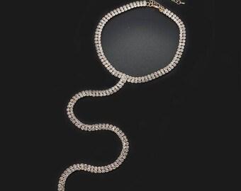 SILVER/GOLD Choker Necklace, Skinny Rhinestone Choker, Stylish Wedding Jewelry (C01013S)