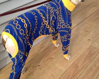 Greyhound Light weight 4 leg Bling pajamas. Custom sized.