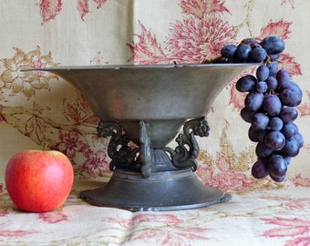French Vintage Pewter Fruit Bowl. Pewter Fruit Stand. Large Vintage Fruit Bowl.  CHRISTMAS GIFT. French Vintage.