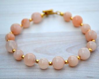 Pink aventurine bracelet, Aventurine bracelet, Aventurine jewelry, Pink aventurine gift, Pink aventurine 10 mm, Bracelet pink aventurine.