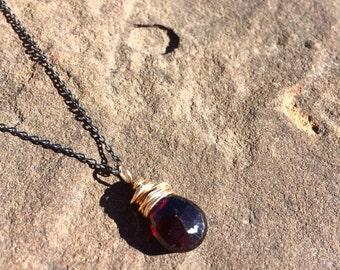 Deep garnet briolette necklace