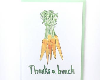 Thanks a bunch, thank you pun, watercolor food card, carrot notecard, foodie paper goods, funny thank you cards kitchen humor food thank you