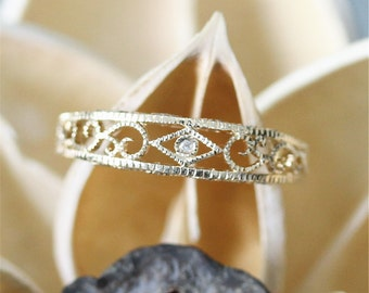 Hand Engraved Diamond Wedding Band,Dainty Diamond Ring,Antique Wedding Ring,14K Yellow Gold Ring.Match Ring,Bridal Band