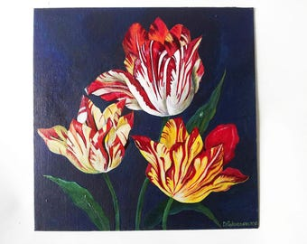 Traditional painting| Flower painting| Original painting| Tulip painting| Acrylic painting| Painting on canvas| Floral painting| Ambrosius