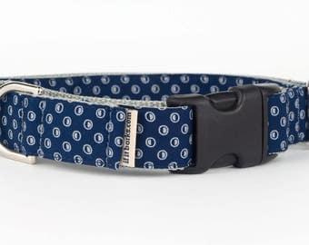 Navy Circles Cotton Fabric Martingale Dog Collar