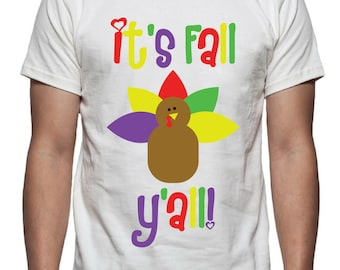 It's Fall Y'all Tee Shirt Design, SVG, DXF, EPS Vector files for use with Cricut or Silhouette Vinyl Cutting Machines